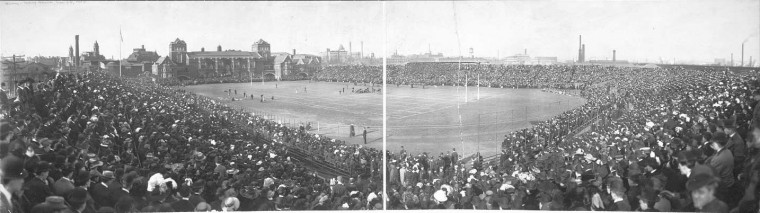 A 1908 game between the Naval Academy football team and the Army team, held at Franklin Field. The Penn Relays would have been using the venue annually for just over a decade at the time this Library of Congress photo was taken.