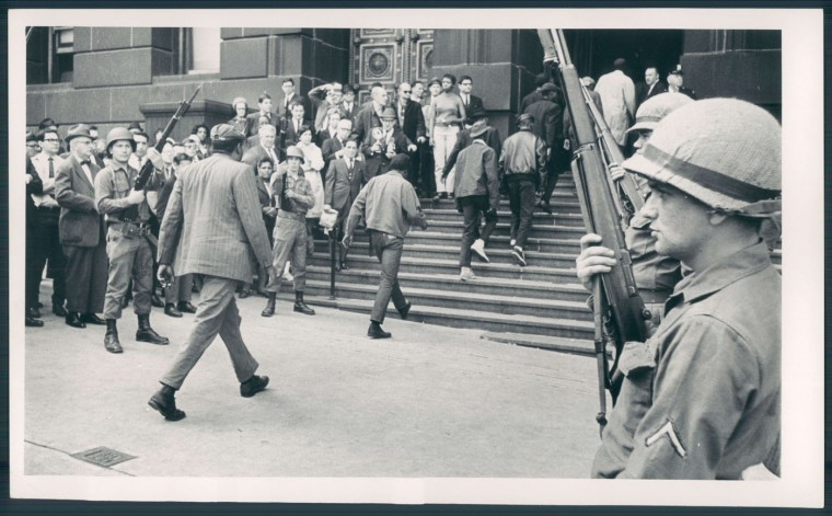 1968 riots. Prisoners marched into courthouse. Weyman Swagger