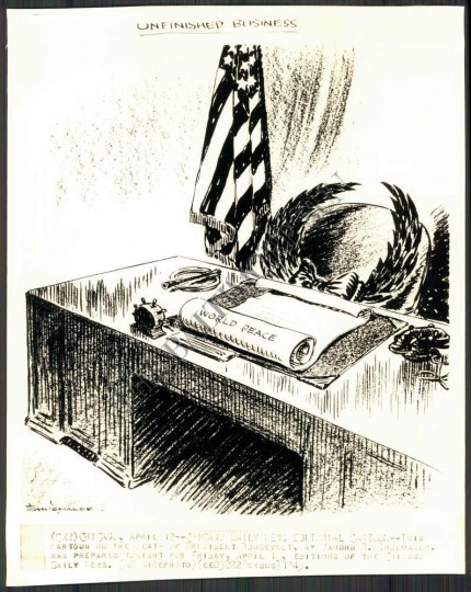 Chicago Daily News editorial cartoon -- This cartoon on the death of President Roosevelt, by Vaughn R. Shoemaker, was prepared tonight for Friday, April 13, editions of the Chicago Daily News. (AP Wire Photo, 1945)