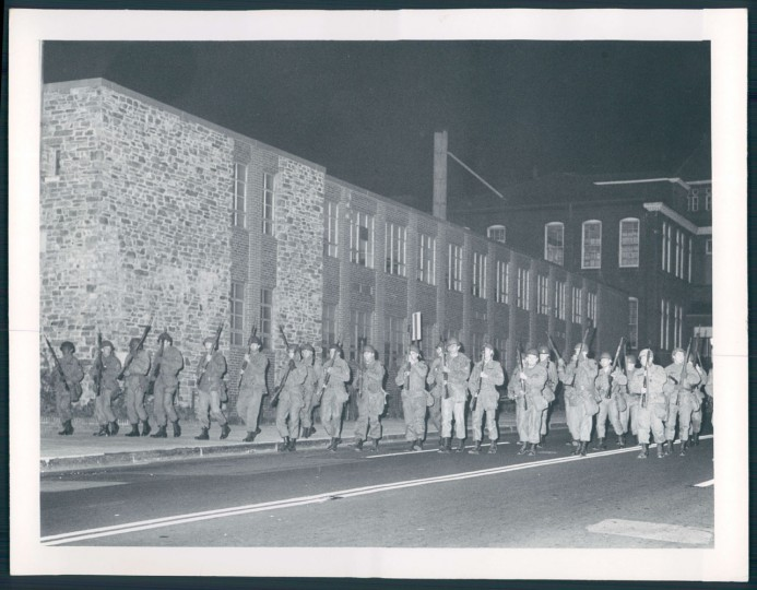 National Guard lines Preston Street 1968. William Holtz, Sun