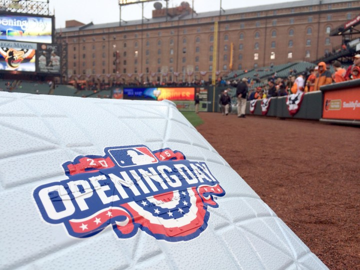 A base rests on the field at Oriole Park prior to Opening Day. (Karl Merton Ferron/Baltimore Sun)