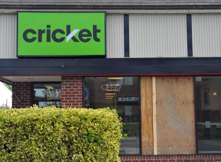 The Cricket store was one of about five businesses on York Road near Woodbourne Avenue in Govans that was looted on Monday night, as rioting spread in the aftermath of the Freddie Gray protests. (Amy Davis/ Baltimore Sun)