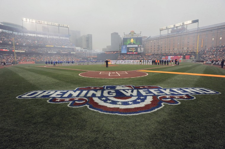 A dreary afternoon greets fans as the Baltimore Orioles prepare to play their home opener against the Toronto Blue Jays at Oriole Park at Camden Yards. The Blue Jays plucked the Orioles, 12-5.  (Karl Merton Ferron/Baltimore Sun)