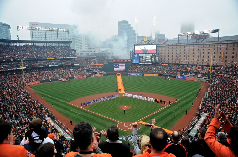 The Baltimore Orioles hold their home opening day ceremonies prior to playing the Toronto Blue Jays kicking off the 2015 season.   (Christopher T. Assaf/Baltimore Sun)