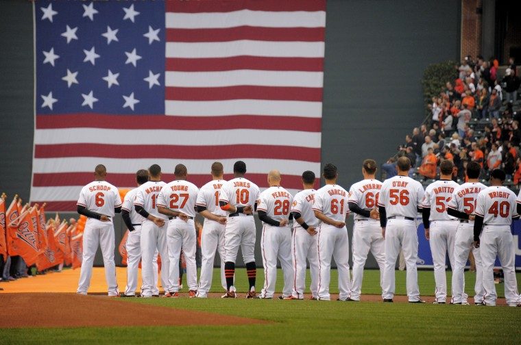 The Orioles stand on the field during the singing of the National Anthem before their opening day game against the Blue Jays. (Karl Merton Ferron/Baltimore Sun)