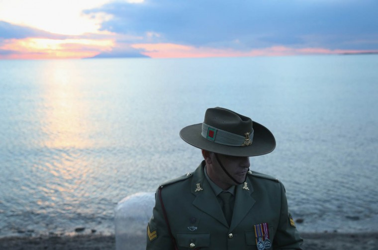 Corporal Andrew Barnett of the Australian Army Band, who will play the bugle at the upcoming Dawn Service commemoration ceremony to honour Australian and New Zealand soldiers killed in the Gallipoli Campaign, stands at Anzac Cove near Eceabat, Turkey. Allied and Turkish representatives, as well as family members of those who served, will commemorate the 100th anniversary of the campaign with ceremonies scheduled for April 24-25. The Gallipoli land campaign, in which a combined Allied force of British, French, Australian, New Zealand and Indian troops sought to occupy the Gallipoli peninsula and the strategic Dardanelles strait during World War I, began on April 25, 1915 against Turkish forces of the Ottoman Empire. The Allies, unable to advance more than a few kilometers, withdrew after eight months. The campaign cost the Allies approximately 45,000 killed and up to 200,000 wounded, the Ottomans approximately 85,000 killed and 160,000 wounded. (Sean Gallup/Getty Images)