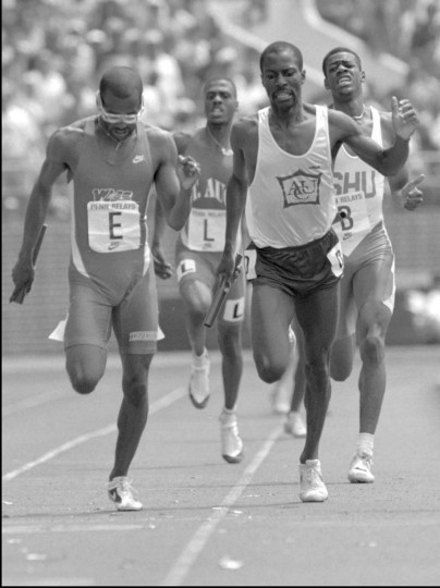 1994 caption:  Tennessee's Jose Parrilla, left, just beats Abilene Christian University's Joseph Tangelei at the finish line of the College Mens Sprint Medley Relay at the Penn Relays Saturday April 30, 1994, in Philadelphia. Tennessee won with a time of 3.13.28. || CREDIT: CHRIS GARDNER - AP PHOTO