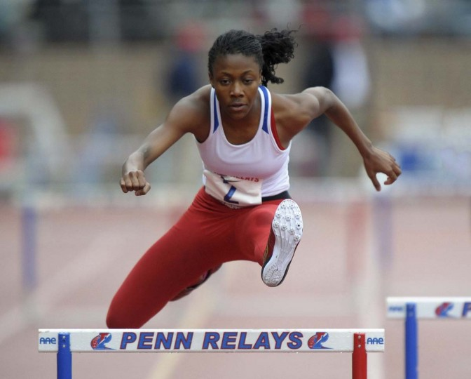 2012 caption:  Philadelphia, PA, USA; Alexis Franklin of Old Mill (Md.) wins the girls 400m hurdles in 59.05 in the 118th Penn Relays at Franklin Field.  Credit: Kirby Lee/Image of Sport-US PRESSWIRE