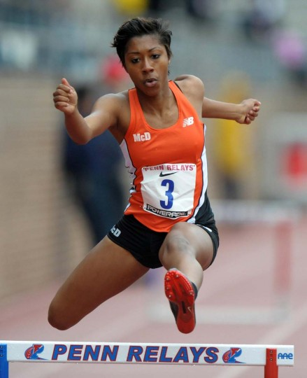 2012 caption:  Autumn Franklin of McDonogh School (Md.) places third in the girls 400m hurdles in 59.94 in the 118th Penn Relays at Franklin Field. Credit: Kirby Lee - Image of Sport - US PRESSWIRE