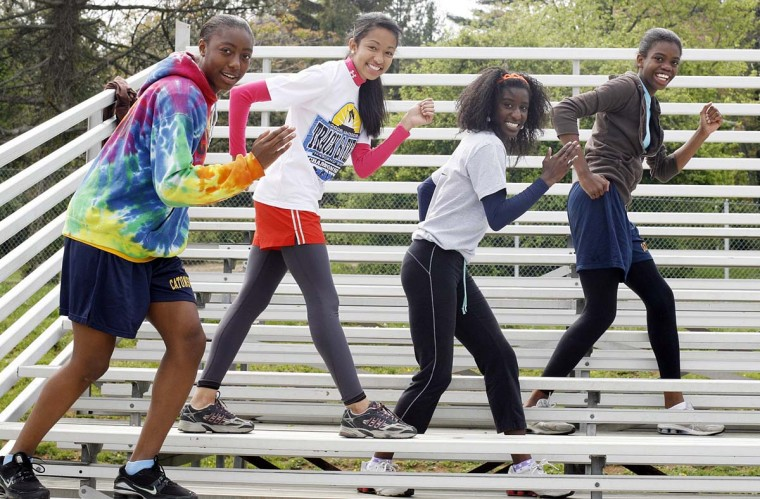 2008 caption:  Catonsville High's 4X400 relay team (L-R) Kellie Christian, Maya Torain, Xauddina Whittington and Naomy Ramos. The group had the fastest relay time of those competing from Maryland in the April 21st, Penn Relays at the University of Pennsylvania in Philadelphia. BSMG file photo by Justin Kase