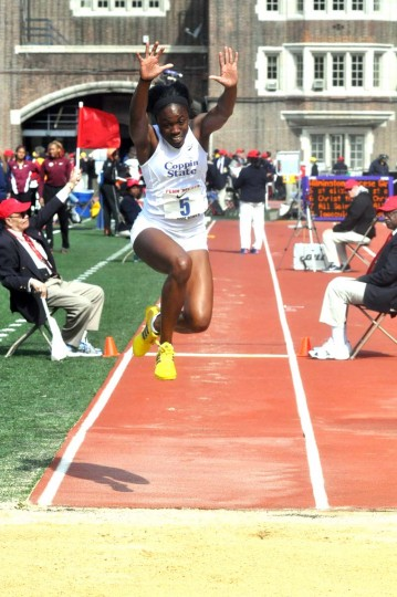 2014 caption:  Coppin State track athlete Christina Epps competes at the 2014 Penn Relays. Photo courtesy of Coppin State athletics.