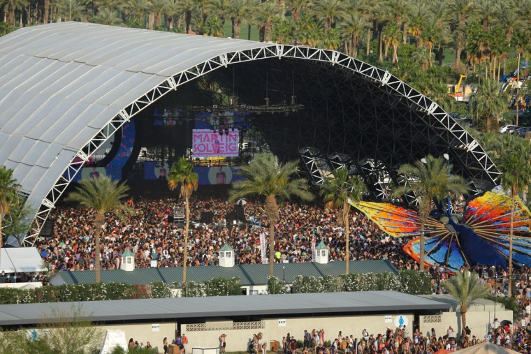 DJ Martin Solveig performs at the Sahara stage at The Coachella Music and Arts Festival - Weekend 2, on Sunday, April 19, 2015, in Indio, Calif. (Photo by Zach Cordner/Invision/AP)