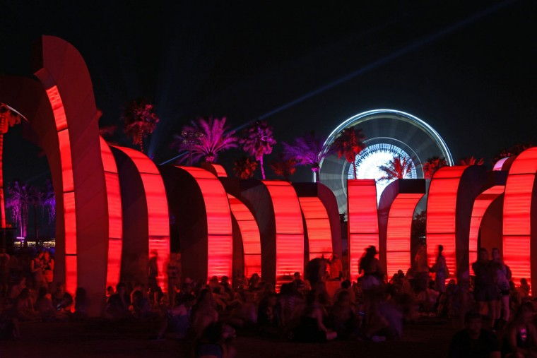 The Chrono Chromatic art installation at The Coachella Music and Arts Festival - Weekend 2 on Saturday, April 18, 2015 in Indio, CA. (Photo by Zach Cordner/Invision/AP)