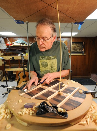 MacCubbin assembled this apparatus for working on this part of the guitar. (Jon Sham/BSMG)