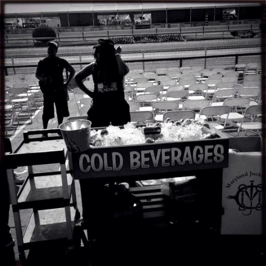 Cold beverages await customers at Pimlico before racing. (Christopher T. Assaf/Baltimore Sun)