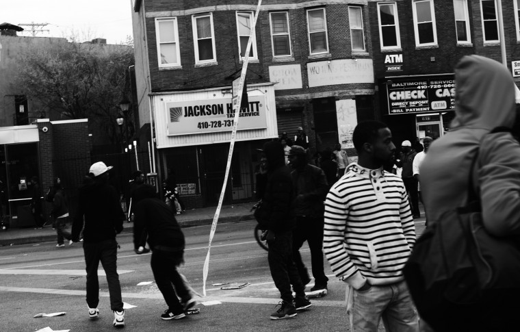 April 27: Looters destroy shops, police cars, and a CVS at the corner of North and Pennsylvania avenues. The corner will become Ground Zero for the protests. BCPD tweet: Several juveniles are part of these aggressive groups. WE ARE ASKING ALL PARENTS TO LOCATE THEIR CHILDREN AND BRING THEM HOME. See more photos from the day here.