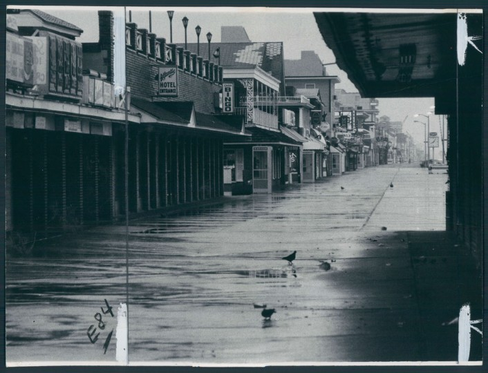 The beginning of a long, empty season for Ocean City. Wet, cold and deserted. Oct 13, 1977.