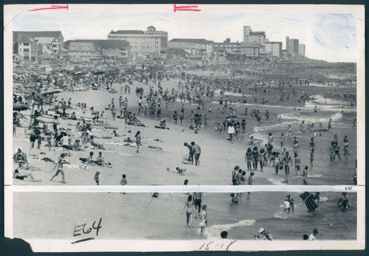 Throngs enjoy sun and surf at Ocean City. August 18, 1978.