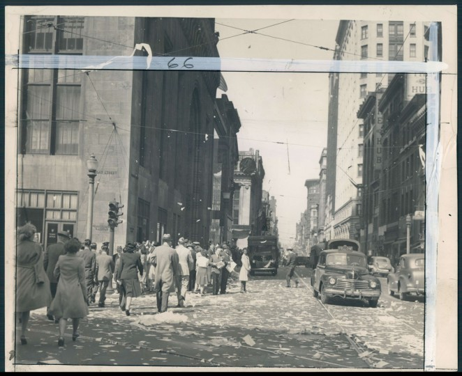 Looking west, Baltimore Street from Light Street. People celebrate V-E Day. (Baltimore Sun archives)