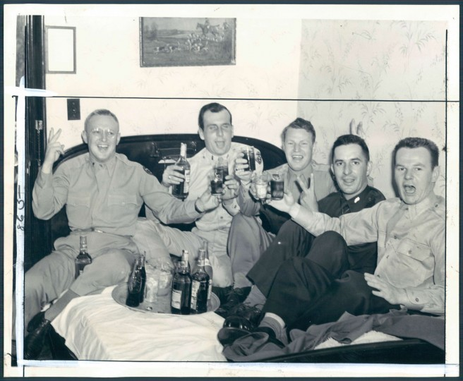 These five lieutenants at the Emerson Hotel had a special reason for celebrating. Left to right: Albert R. McCune, Ross Crawford, Dust Rhodes, T. W. Murphy and Howard Copfer. (Baltimore Sun archives)