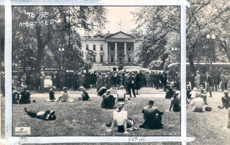 A crowd assembles in Lafayette Square in anticipation of a presidential V-E Day proclamation. (AP Wirephoto)