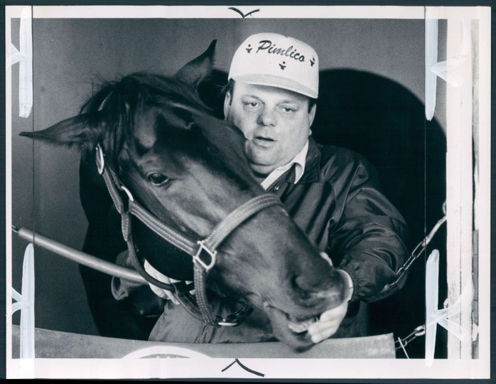 The Kentucky Derby already won, Pleasant Colony will repeat in the Preakness, always-ebullient trainer Johnny Campo tells the world. (William Hotz/Baltimore Sun, 1981)