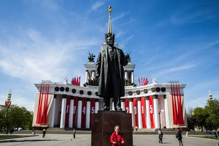 The main pavilion of Exhibition of Economic Achievements on May 8, 2015 in Moscow Russia. The city of Moscow will celebrate the anniversary on May 9 with a Victory Day international military parade and other events that most European leaders are snubbing due to Russia's involvement in the war in eastern Ukraine. ||(Photo by Alexander Aksakov/Getty Images)