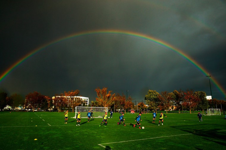 A double rainbow forms overhead during a Melbourne Victory A-League training session at Gosch's Paddock on Tuesday in Melbourne, Australia. Melbourne Victory will play Sydney FC in the A-League grand final in Melbourne on Sunday.  (Scott Barbour/Getty Images)
