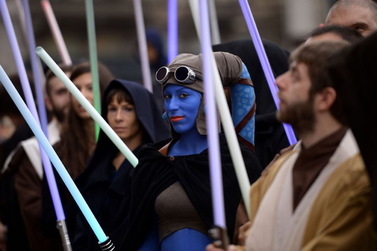 "A cosplayer dressed as ""Star Wars"" character Aayla Secura attends a Star Wars Day event in Milan on May 3, 2015. (AFP Photo/Filippo Monteforte)"