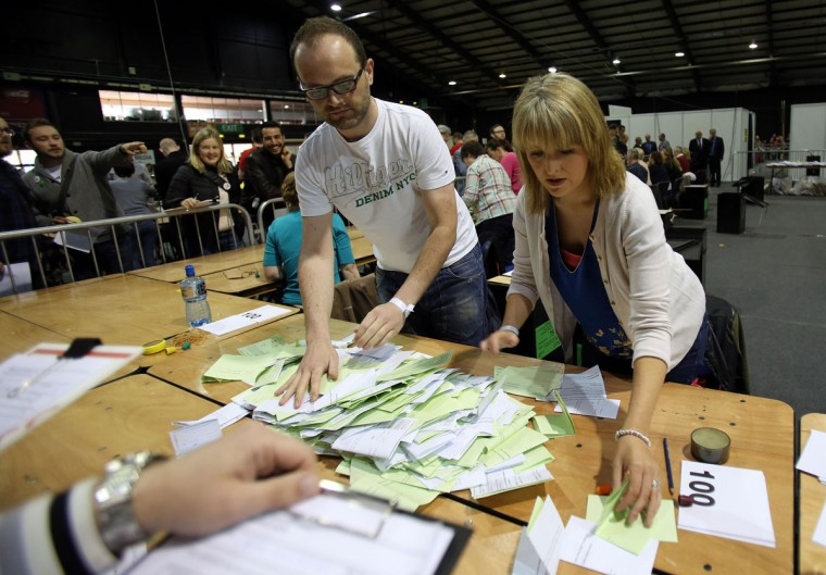People sort votes at a count centre in Dublin following the vote on same-sex marriage in Ireland on May 23, 2015. Counting got under way today in Ireland's historic referendum on same-sex marriage, with thousands of people, some of whom rushed home from living abroad to vote, gathering to hear the results. (Paul Faith/AFP/Getty Images)