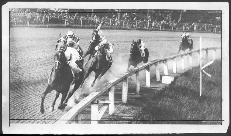 Coming into the homestretch during Preakness in 1934. (The A.S. Adell Company/Baltimore Sun archives)