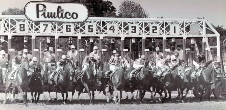 The starting gate at Preakness (Bo Rader/Baltimore Sun, 1990)
