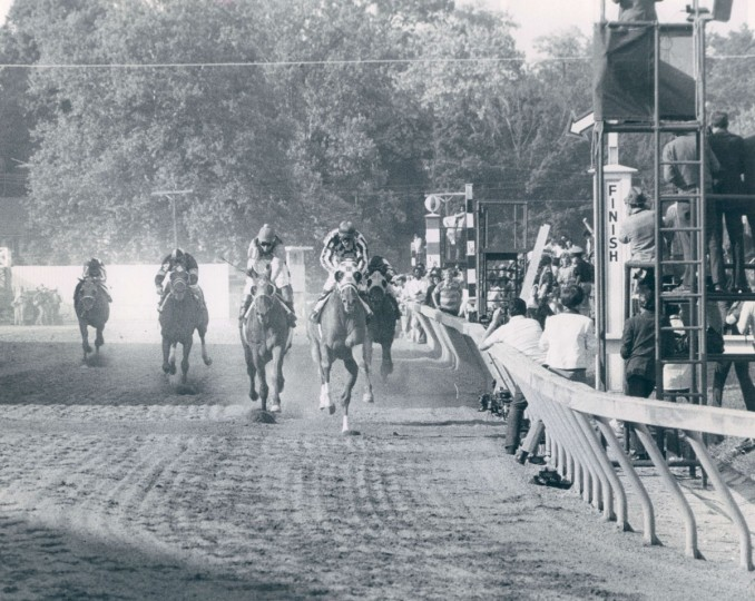 Secretariat charging towards the finish of the 1973 Preakness Stakes. (William H. Mortimer/Baltimore Sun)