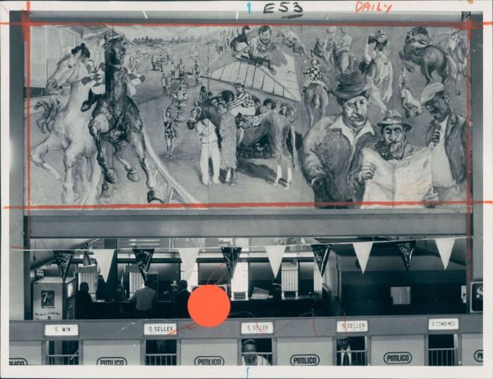 Maryland Institute mural for Pimlico. (Joseph A. DiPaola/Baltimore Sun, 1975)