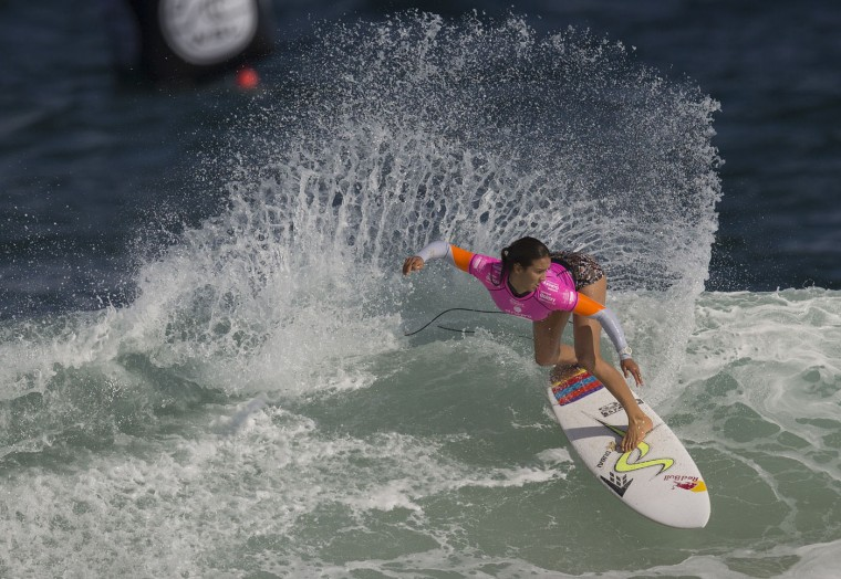 Australia's Sally Fitzgibbons competes in the first round of the 2015 Oi Rio Pro World Surf League competition at Barra da Tijuca beach in Rio de Janeiro, Brazil, Tuesday, May 12, 2015. (AP Photo/Leo Correa)