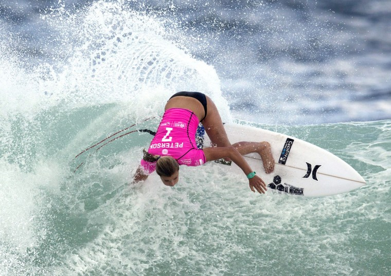 U.S. Lakey Peterson competes in the first round of the 2015 Oi Rio Pro World Surf League competition at Barra da Tijuca beach in Rio de Janeiro, Brazil, Tuesday, May 12, 2015. (AP Photo/Leo Correa)