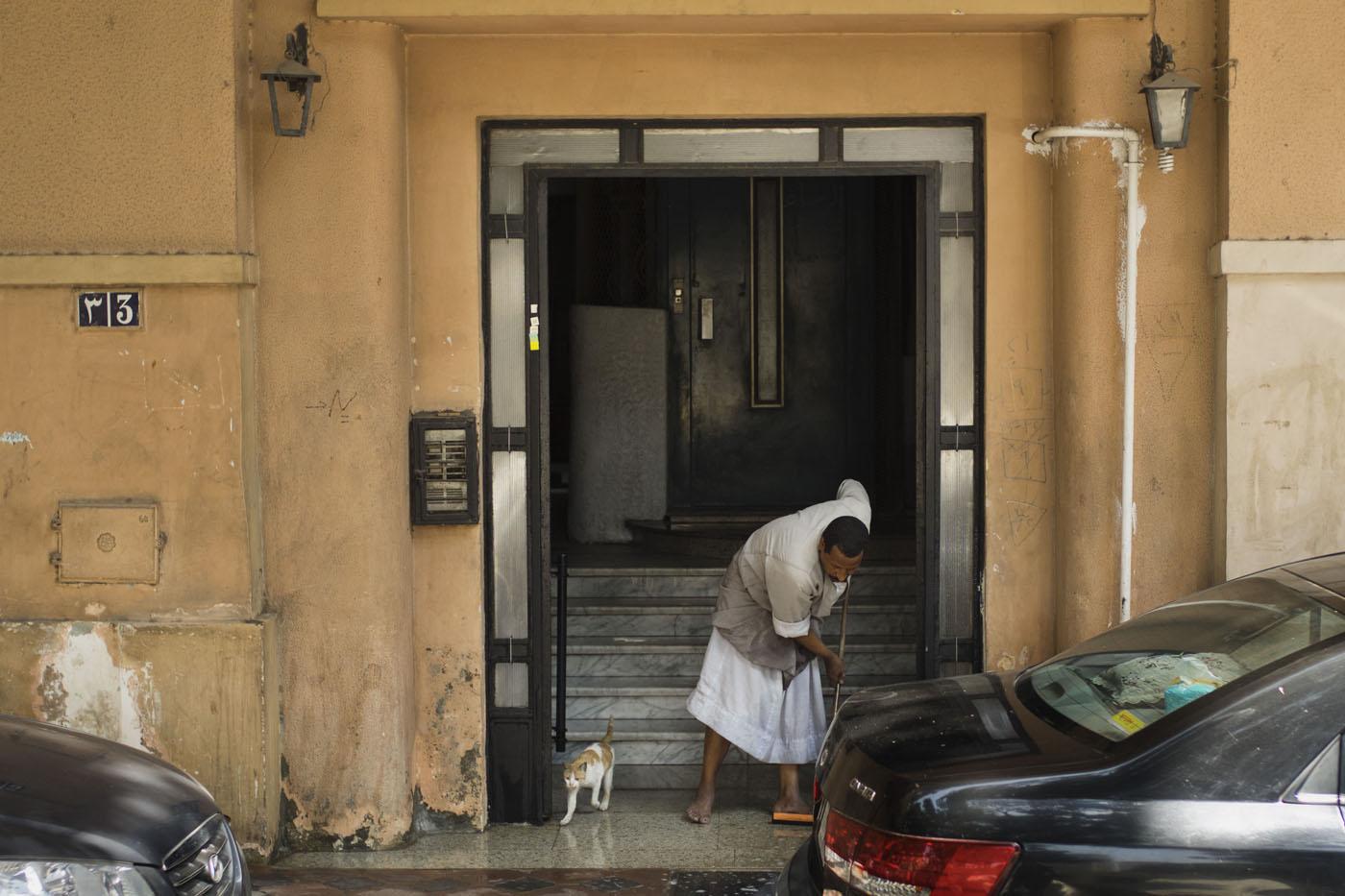 A rare trip home for an Egyptian doorman