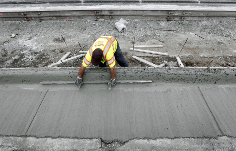 Road construction is shown in Detroit on Tuesday. Michigan voters were deciding Tuesday whether to approve higher taxes to improve the state's deteriorating roads and bridges. (Paul Sancya/AP)