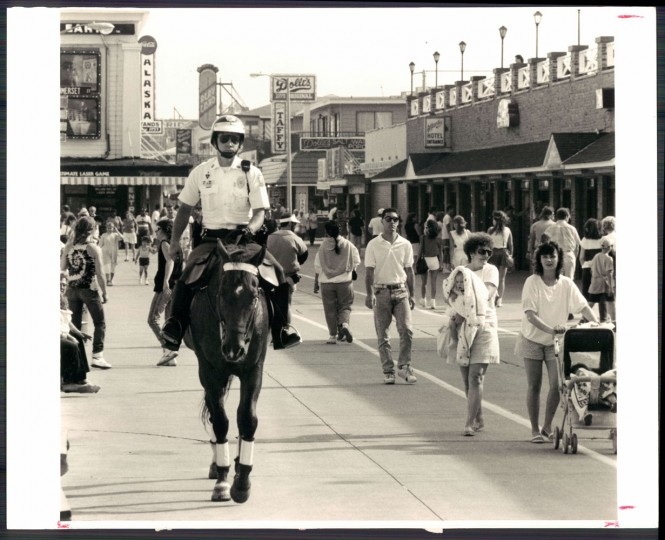 Mounted police on the Ocean City boardwalk, 1989