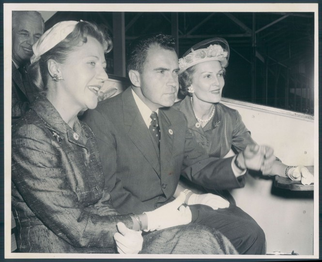 Mrs. Style Bridges with VP Richard Nixon and wife Patricia at the Preakness Stakes. (Joseph A. DiPaola/Baltimore Sun, 1957)
