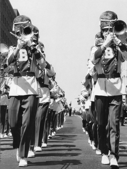 Some of the 5,000 or so participants in the1976 Preakness parade marched along and tooted their horns on Howard Street and Madison yesterday as thousands more had lined the parade route to watch on a fine spring day. (William H Mortimer/Baltimore Sun(