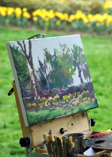 This work-in-progress painting by Debra Moffitt of Halethorpe captures her vision of Sherwood Gardens. (Algerina Perna/Baltimore Sun)
