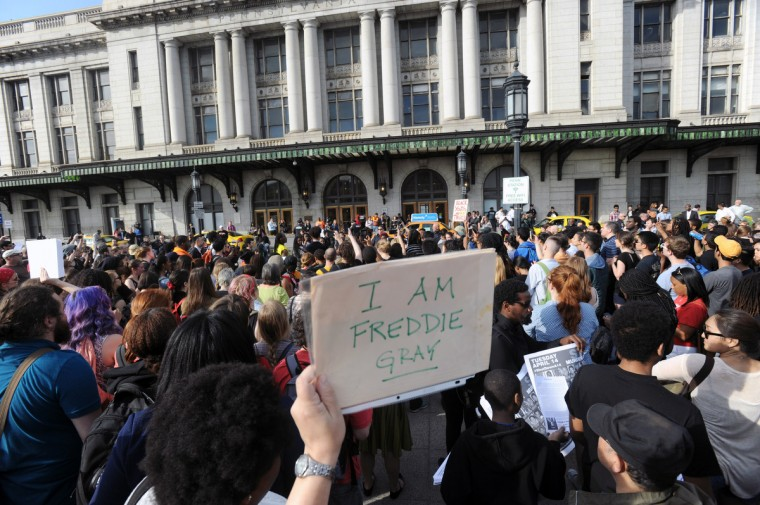 Marchers, mostly college students, gathered at Pennsylvania Station to march down to Baltimore City Hall in protest of the Freddie Gray's death. (Kenneth K. Lam/The Baltimore Sun)