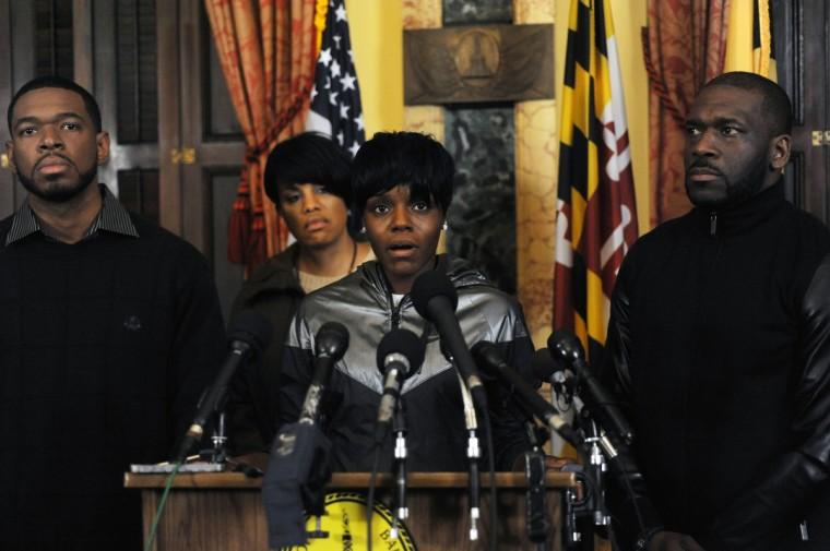 Fredericka Gray, twin sister of Freddie Gray, speaks during a press conference at City Hall as Mayor Stephanie Rawlings Blake listens. The mayor, Fredericka Gray and local ministers talked about the unrest in the wake of a march to protest the death of Freddie Gray in police custody.  (Algerina Perna/Baltimore Sun)