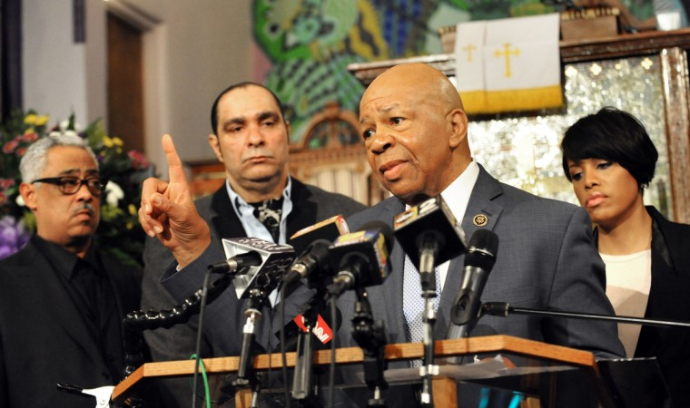 Rep. Elijah Cummings, at podium, speaks at a press conference held at Bethel AME Church. From left are: the church's pastor, Frank M. Reid III; executive director of Coldstream-Homestead-Montbello community, Mark Washington; Rep. Cummings, and Mayor Stephanie Rawlings-Blake. The press conference addressed peaceful protests in the wake of Freddie Gray's death while in police custody. (Algerina Perna/Baltimore Sun)