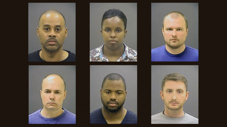 Officers charged in Freddie Gray case: Top l-r) Caeser R. Goodson Jr., Sgt. Alicia D. White, Officer Garrett E. Miller.; (Bottom l-r) Lt. Brian W. Rice, Officer William G. Porter,   Officer Edward M. Nero. These Baltimore police officers are charged for alleged role in the death of Freddie Gray.  (Baltimore Police)