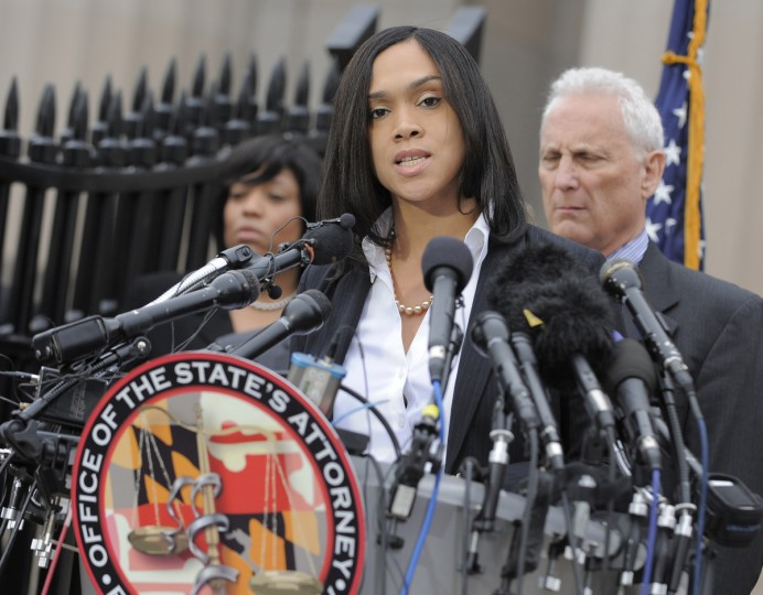 Baltimore State Attorney Marilyn Mosby at a press conference outside the War Memorial Building talking about the arrests of police officers involved in the death of Freddie Gray. (Lloyd Fox/Baltimore Sun)