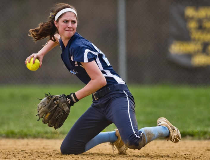 Howard's Brittany Bryson turns to throw to first after snagging a ground ball during the Howard High versus Mount Hebron High softball matchup at Mt. Hebron in Ellicott City on April 15, 2015. (Scott Serio/for BSMG)