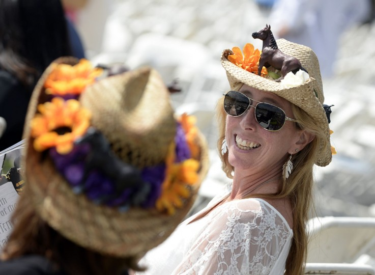 Cheryl Keck of Wilmington,NC with her Preakness hat. (Lloyd Fox/Baltimore Sun)