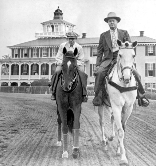 "Whirlaway at time of 1941 Preakness. Exercise rider is ""Pinkie"" Brown, trainer is Ben Jones. Whirlaway won the Triple Crown in 1941. (Baltimore Sun file photo)"
